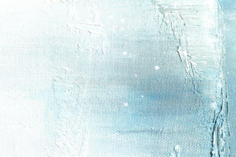 Kanfastexturbakgrund med abstrakt blå färgrik konstmålning royaltyfri fotografi