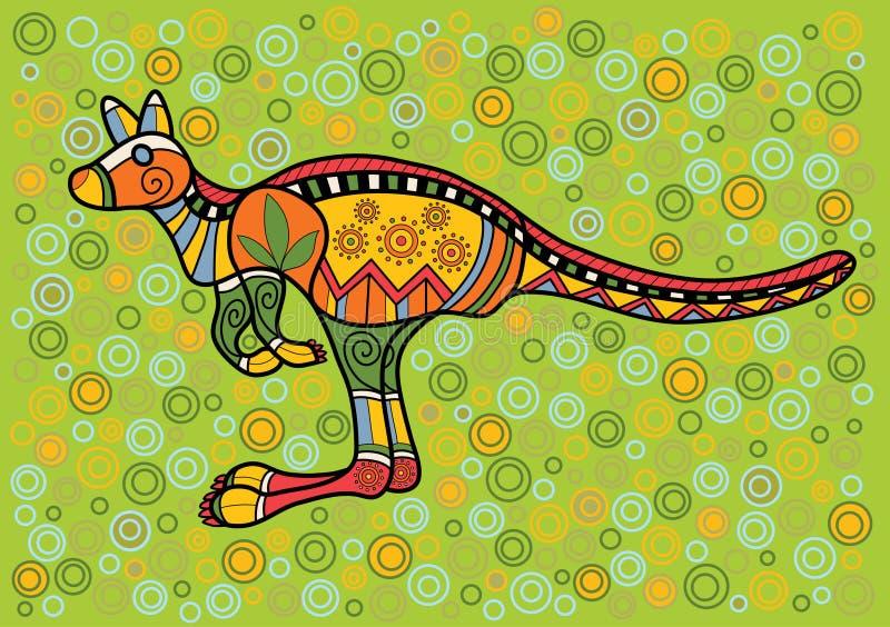 Kangaroo. Multicolored kangaroo in ethnic Australian pattern style royalty free illustration