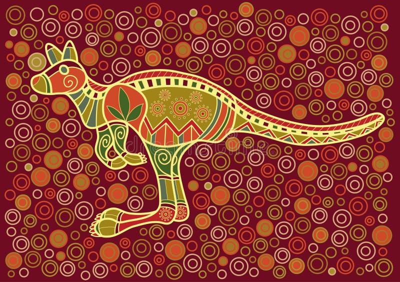 Kangaroo. Multicolored kangaroo in ethnic Australian pattern style vector illustration