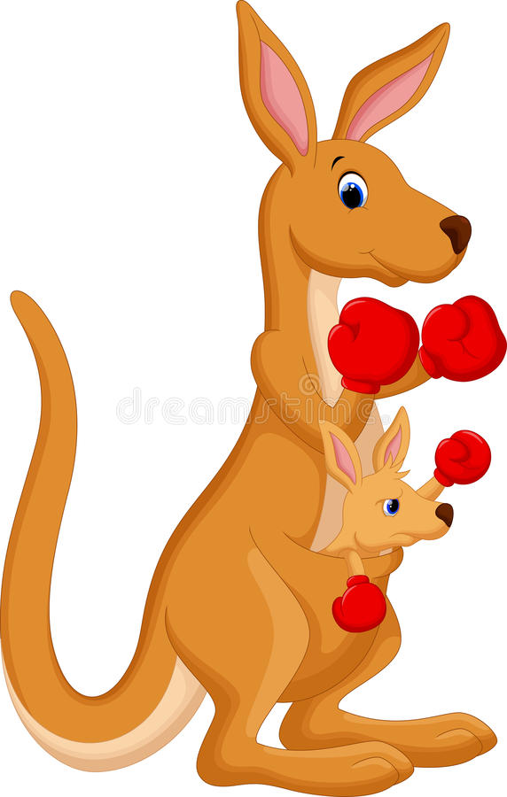 Kangaroo boxing. Illustration of Funny cartoon Boxing Kangaroo stock illustration