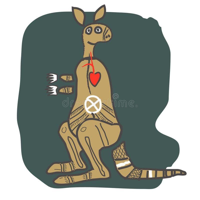Kangaroo, cartoon figure stock illustration