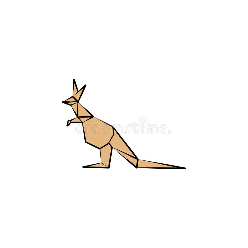 kangaroo colored origami style icon. Element of animals icon. Made of paper in origami technique vector Illustration kangaroo icon royalty free illustration