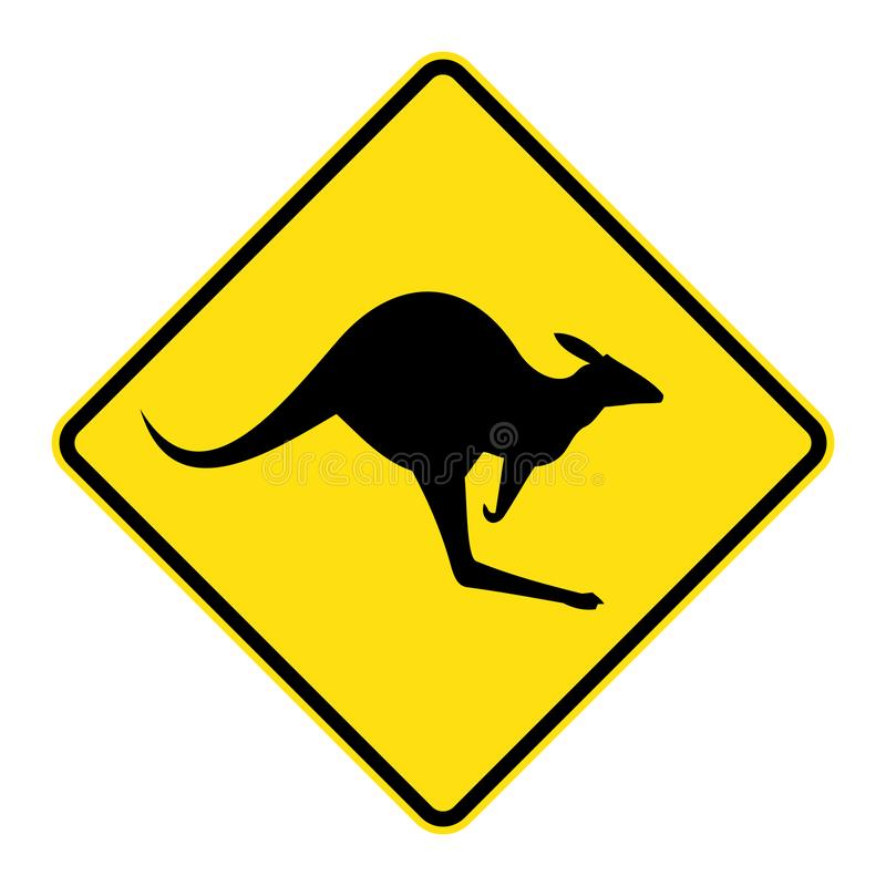 Kangaroo crossing road sign vector illustration