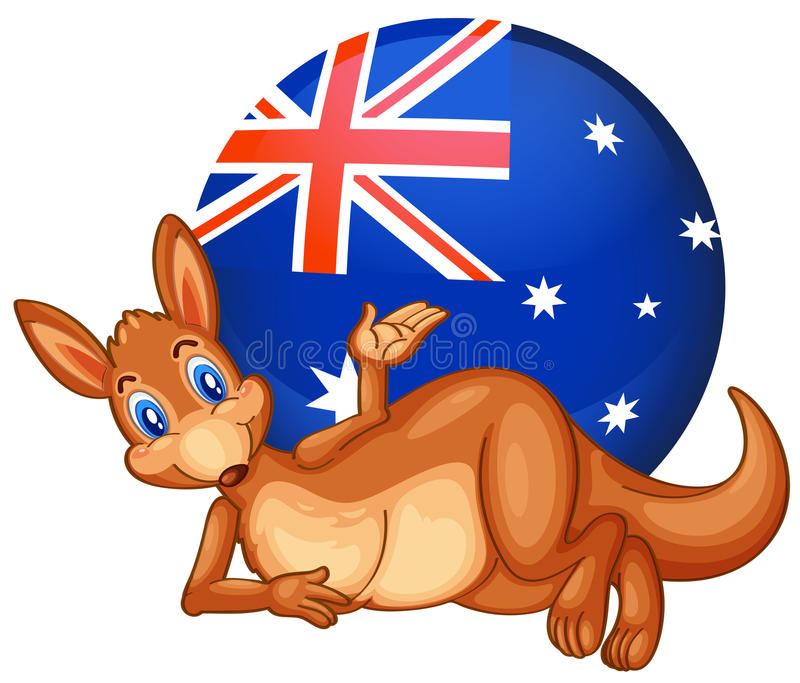 A kangaroo in front of the ball with the Australian flag royalty free illustration