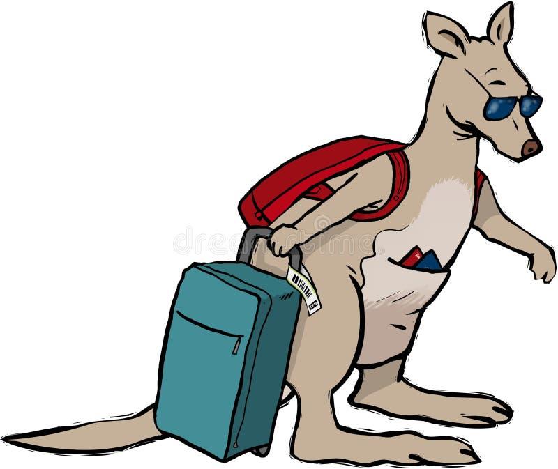 Kangaroo holiday. Kangaroo going on his holidays vector illustration