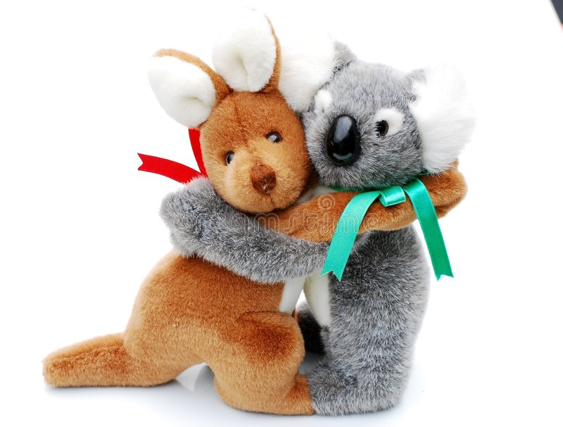 Kangaroo and koala stock image