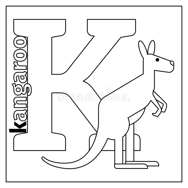 Kangaroo, Letter K Coloring Page Stock Vector - Illustration of ...