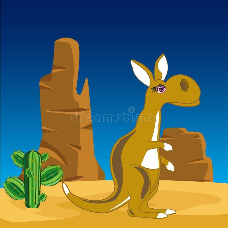 Kangaroo on nature stock illustration