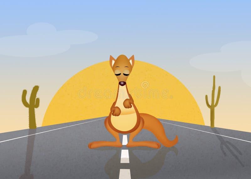 Kangaroo on the road stock illustration