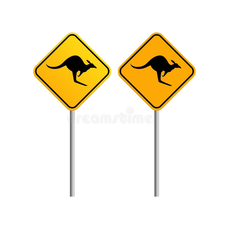 Kangaroo road sign with blue sky and cloud background royalty free illustration