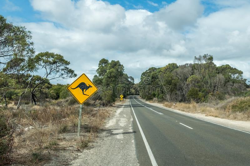 Kangaroo road sign, Kangaroo Island, South Australia stock photos
