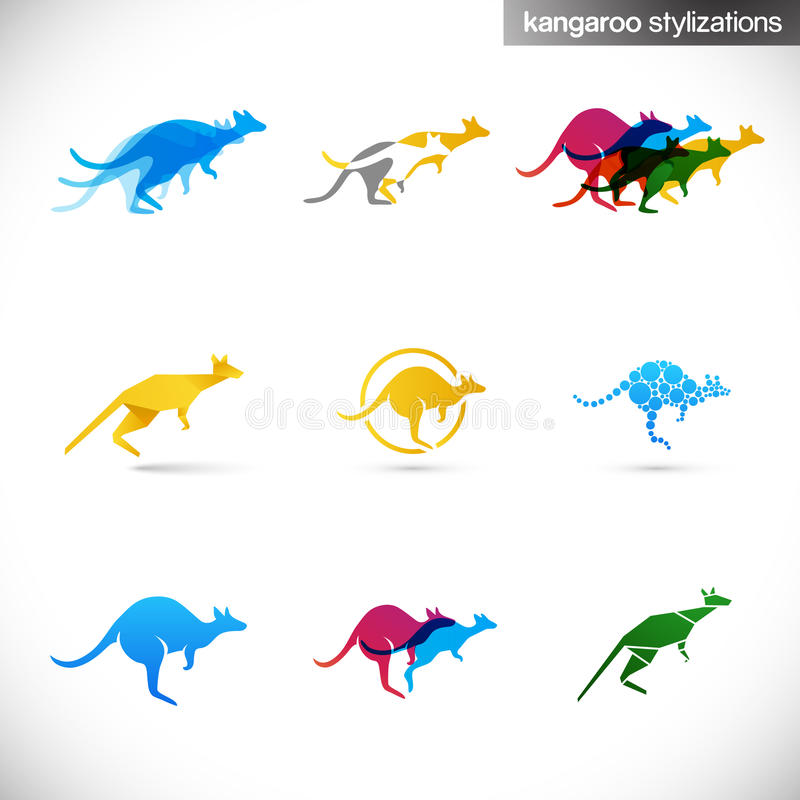 Kangaroo stylized illustrations vector illustration