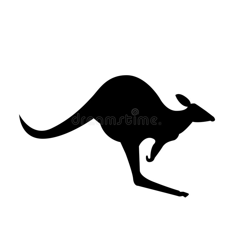 Kangaroo vector silhouette. Vector illustration of australian common kangaroo, as seen on road signs and souvenirs from australia