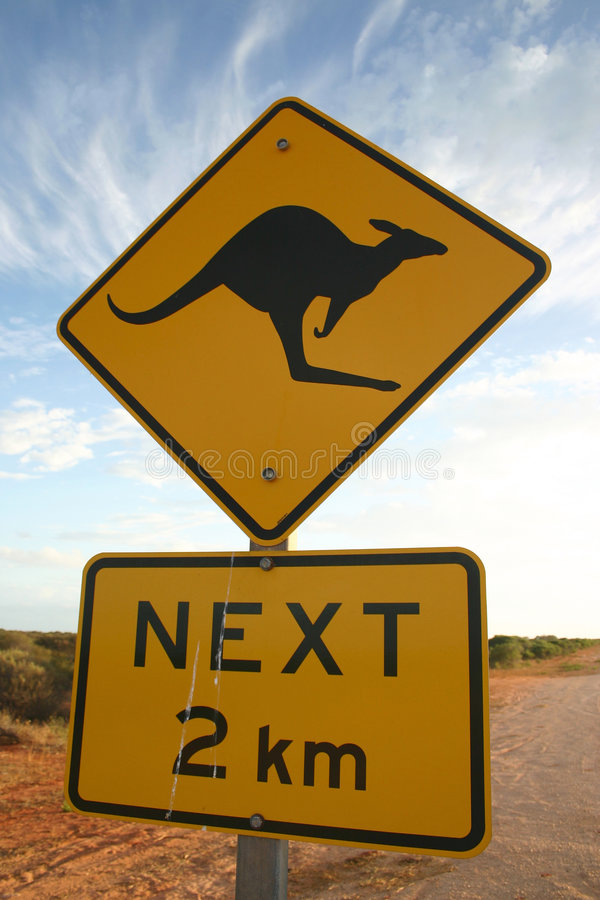 Download Kangaroo warning sign stock image. Image of getaway, trip - 4737185