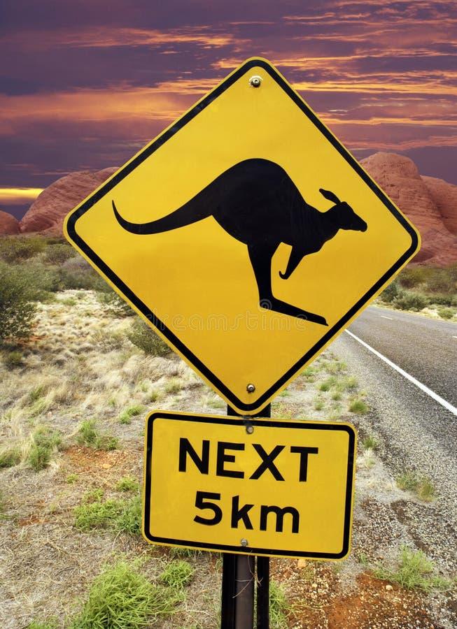 Kangaroo Warning Sign - Australian Outback. Kangaroo warning sign near the Olgas rock formation in the Australian outback stock image