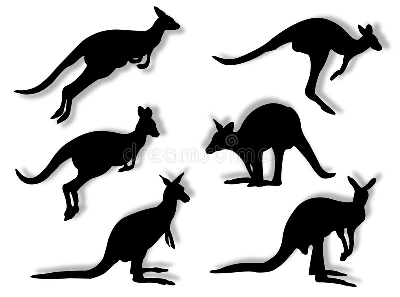 Kangaroos in silhouettes royalty free illustration