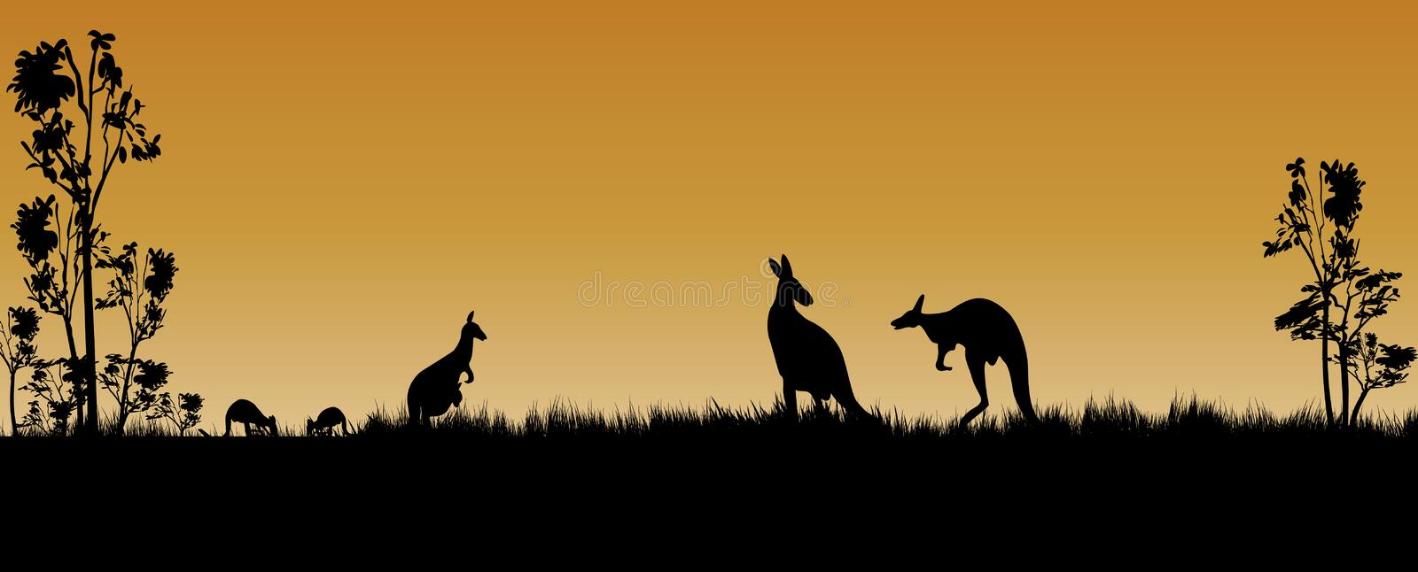 Kangaroos and trees as a silhouette in the sunset. Kangaroos and trees as a silhouette in the Australian sunset stock illustration