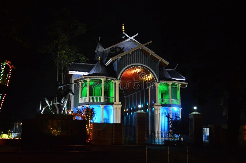 The Kangla Palace gate - night view, in Imphal, Manipur, India. The Kangla Palace is an ancient capital of the erstwhile Kangleipak & x28;now, Manipur in India& stock photo