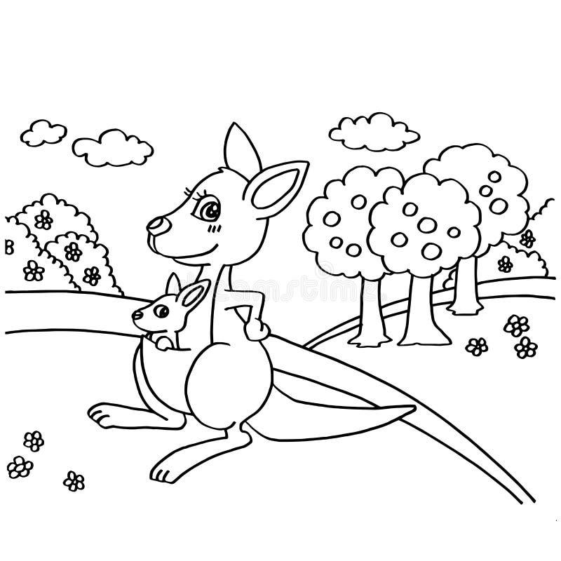 Kangoeroe het Kleuren Pagina'svector stock illustratie