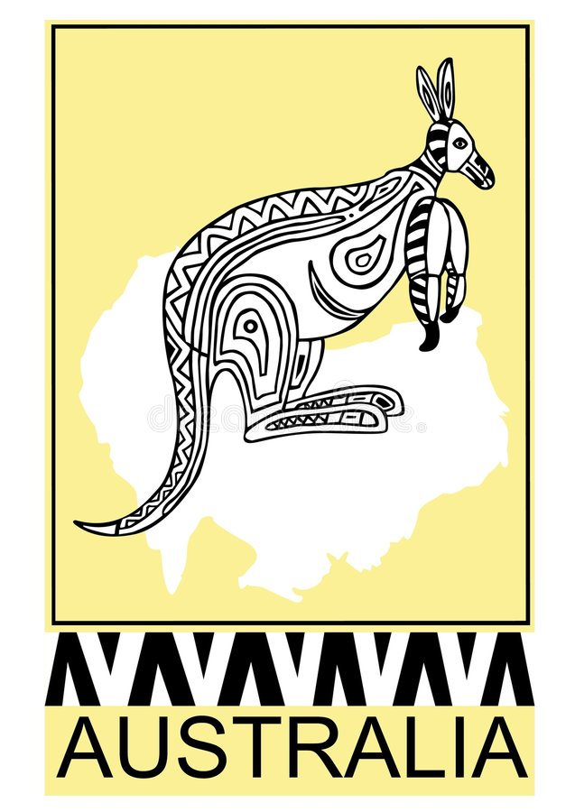 Kangoeroe-inheems art. vector illustratie