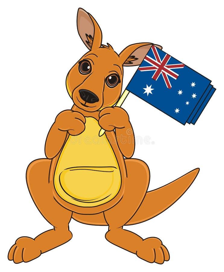 Kangoeroe met nationaal voorwerp royalty-vrije illustratie