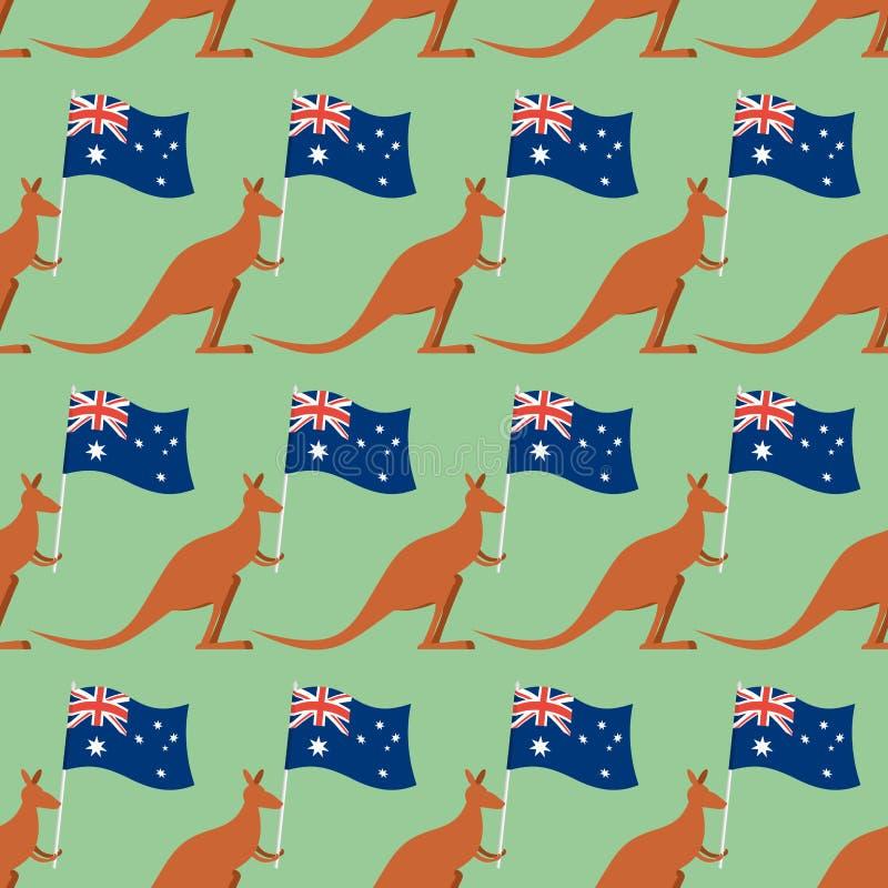 Kangoeroes en Australisch vlag naadloos patroon Achtergrond voor F vector illustratie