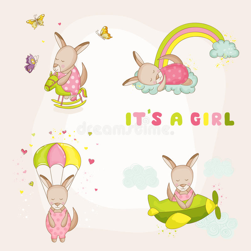 Kangourou de bébé réglé - fête de naissance ou carte d'arrivée illustration libre de droits