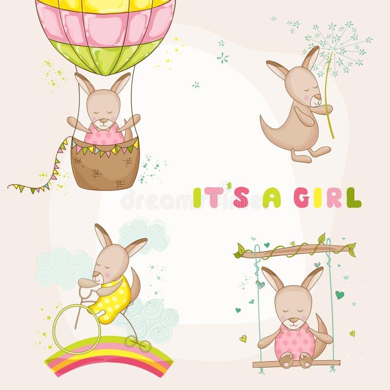 Kangourou de bébé réglé - pour des cartes d'arrivée de fête de naissance ou de bébé illustration de vecteur