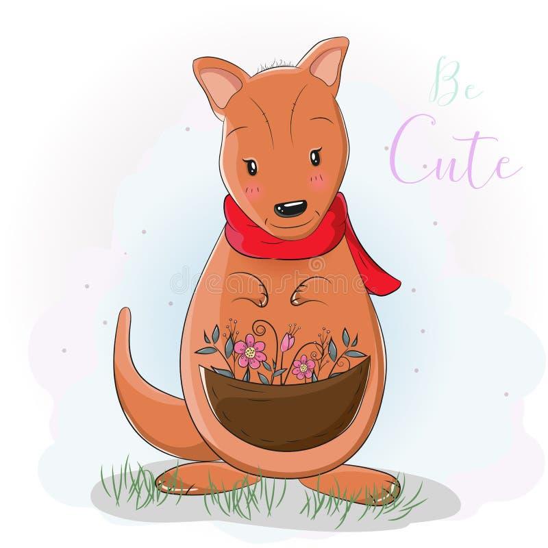 Kangourou mignon de bande dessinée avec la fleur illustration libre de droits