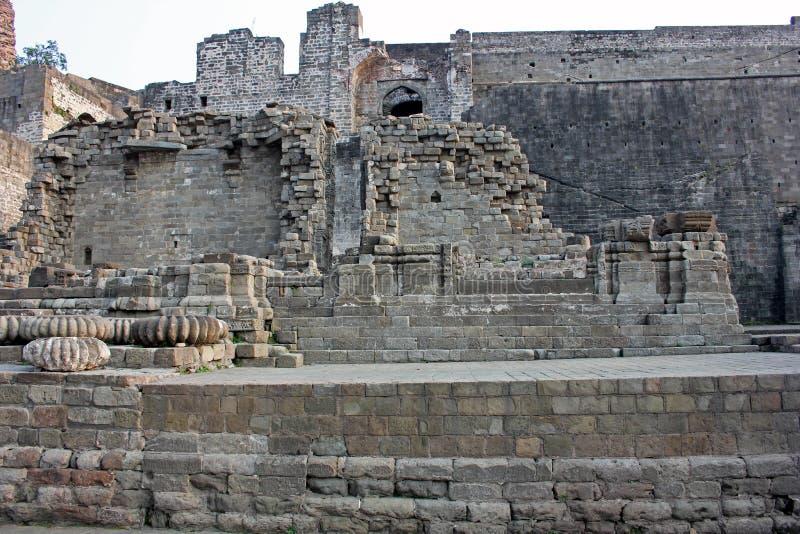 Kangra堡垒,喜马偕尔邦,印度废墟  库存照片