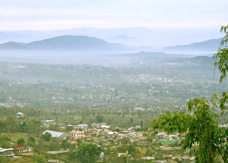 kangra dharamsala hills misty maur dolinę przetaczania obraz royalty free