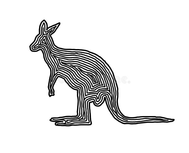Kangur ilustracyjna ikona w czerni odsadzki linii Odcisk palca s royalty ilustracja