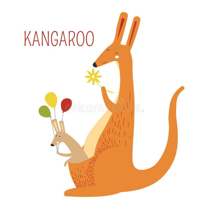 Kangur rodzina matki i dziecka książkowy charakter ilustracji