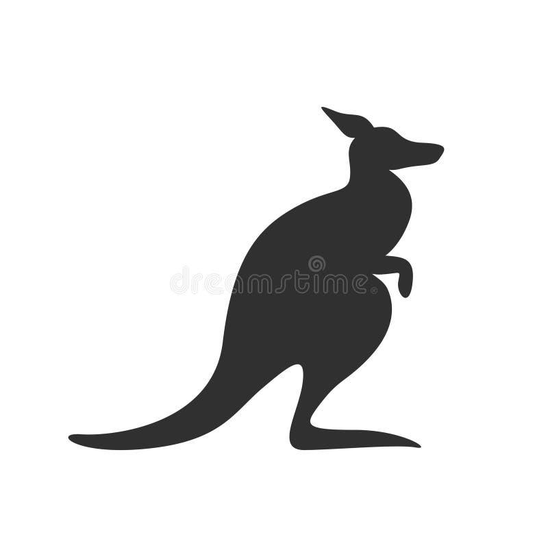 Kangur sylwetki symbolu czerń na bielu royalty ilustracja