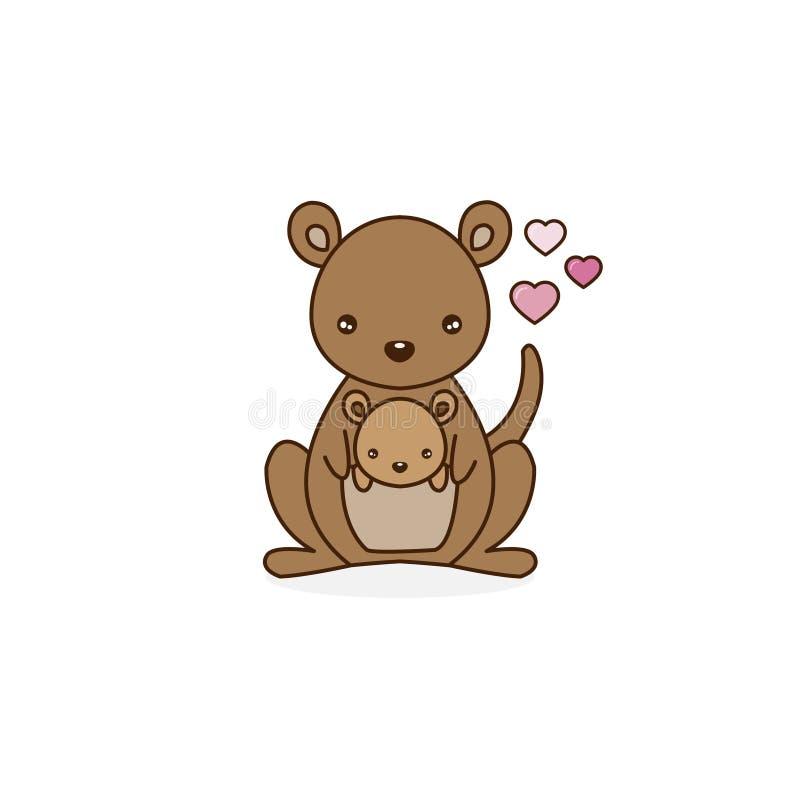 Kangura macierzysty przewożenie dziecko w swój kieszonce również zwrócić corel ilustracji wektora ilustracja wektor