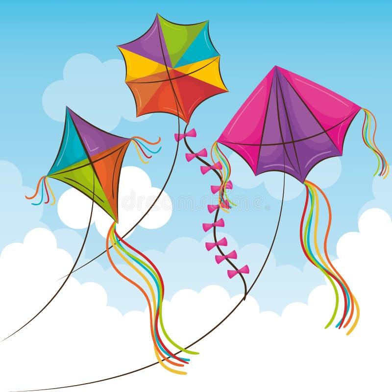 Kani latanie w niebie ilustracja wektor