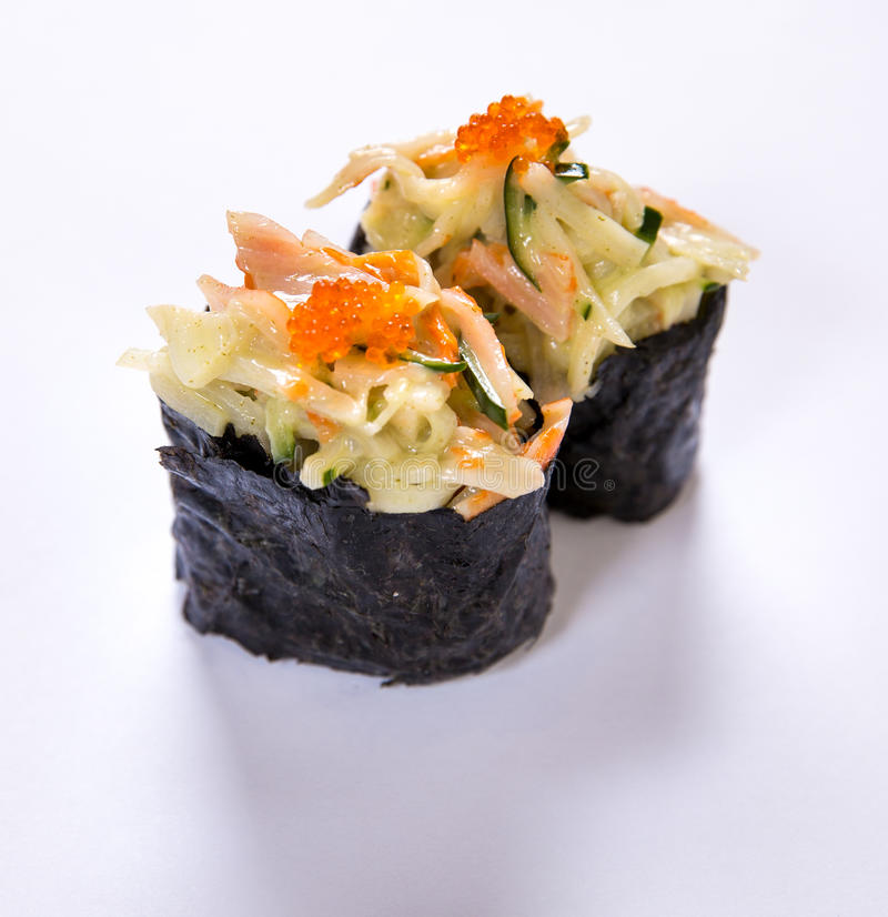 Kani Mayo (Crabstick Mayo) Gunkan royaltyfria bilder