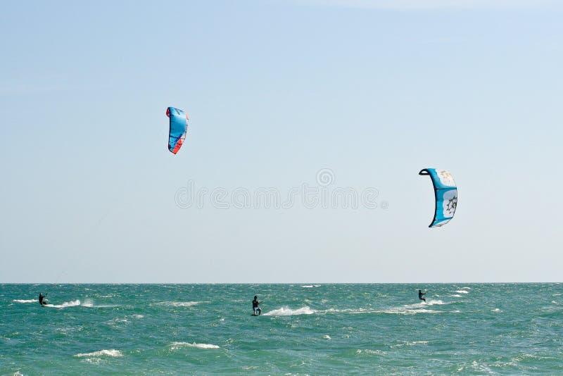 Kania surfingowowie na choppy morzu zdjęcia royalty free