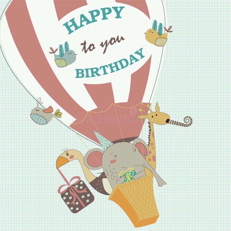 kanin för födelsedagkortgåva stock illustrationer