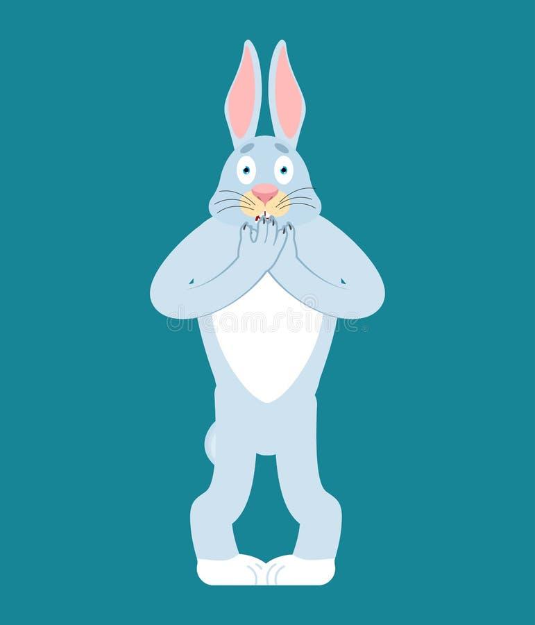 Kanin förskräckt OMG Hare oj min gudemoji Skrämt djur Vect vektor illustrationer