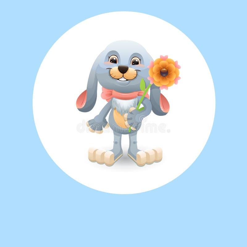 Kanin med blomman stock illustrationer