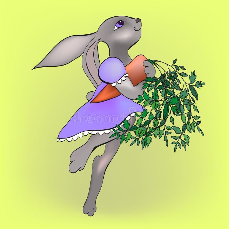 Kanin med moroten stock illustrationer