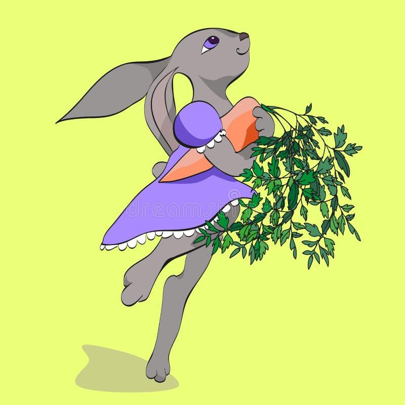 Kanin med moroten royaltyfri illustrationer
