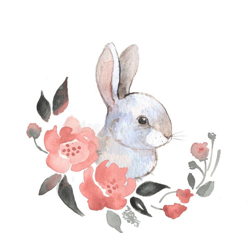 Kanin och blommor vektor illustrationer
