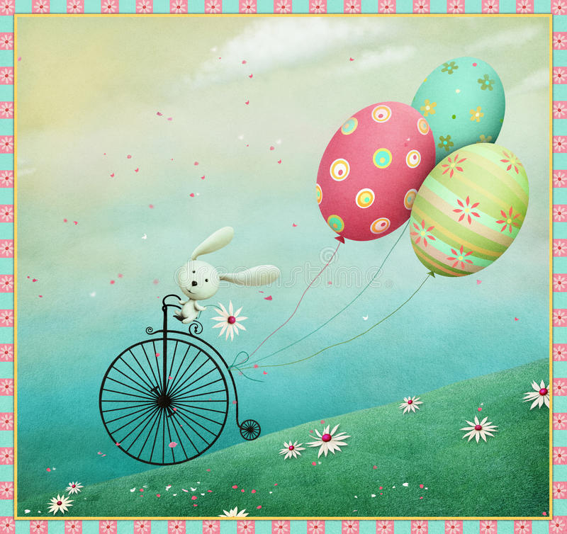 Kanin och cykel vektor illustrationer