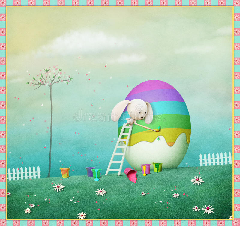 Kanin och regnbåge royaltyfri illustrationer