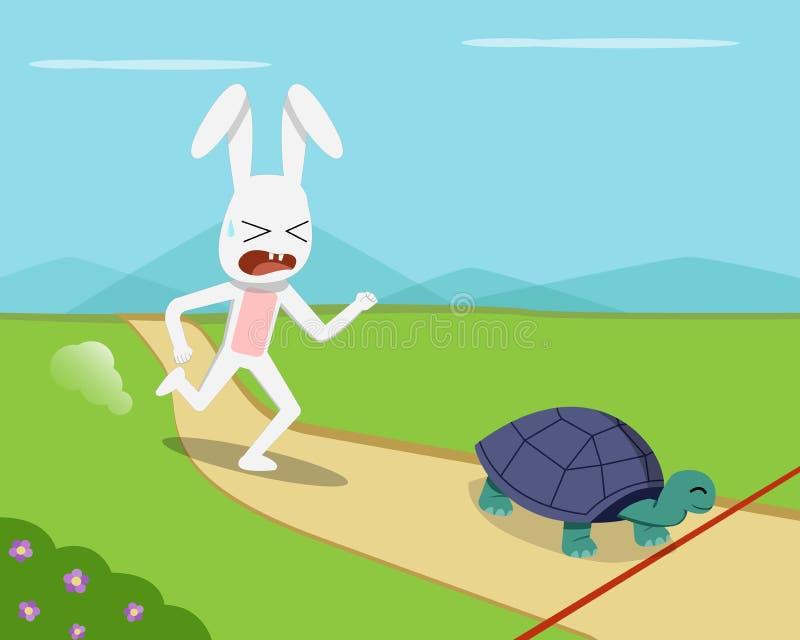 Kanin och sköldpaddan går till mållinjen, vektor royaltyfri illustrationer