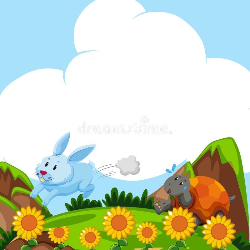 Kanin- och sköldpaddaspring i fältet vektor illustrationer