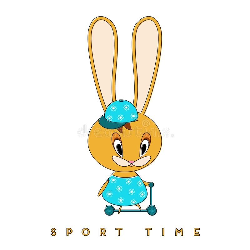 Kanin och sparkcykel vektor illustrationer