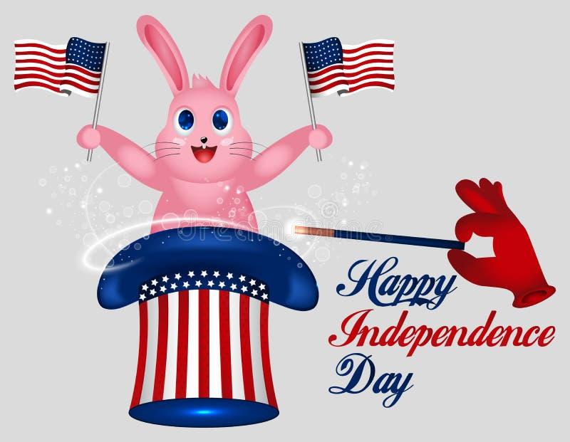 Kanin rymmer amerikanska flaggan Hatt för farbror Sam för stjärna randig amerikansk hatt Magiskt trick med kanin i hatt för farbr stock illustrationer